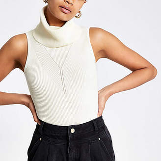 River Island Cream cowl neck knitted top