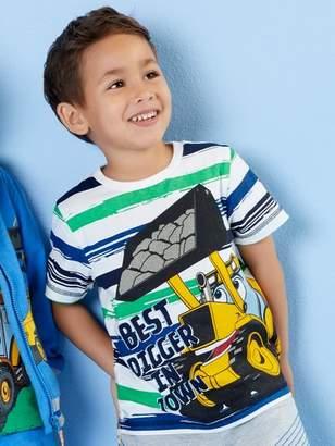 M&Co JCB slogan print stripe t-shirt