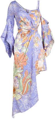 Peter Pilotto Printed Satin Half Wrap Dress