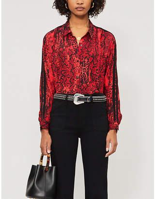 BA&SH Susie snakeskin-print satin shirt