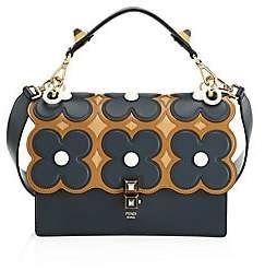 Fendi Women's FF Floral Kan I Leather Top Handle Shoulder Bag