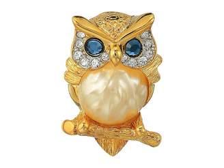 Kenneth Jay Lane Gold/Tortoise Rhine Pearl Body/Saphire Eyes Owl Pin