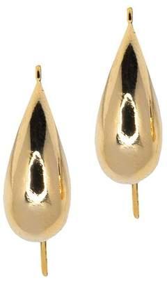 Kenneth Jay Lane Polished Gold Fish Hook Pierced Earrings