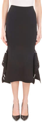 Roland Mouret High-Waist Fitted Midi Skirt with Asymmetric Side Details