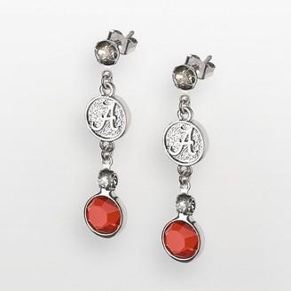 NCAA Logoart Alabama Crimson Tide Silver Tone Crystal Logo Linear Drop Earrings