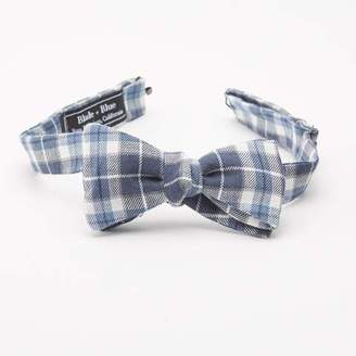 Blade + Blue Navy Blue & White Plaid Bow Tie