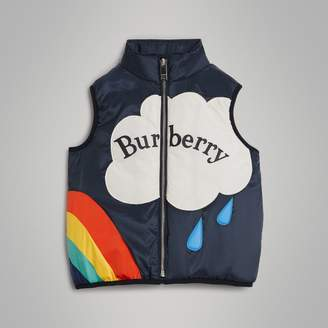 Burberry Rainbow Graphic Showerproof Down-filled Gilet , Size: 4Y, Black