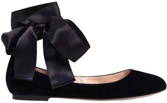 Gianvito Rossi 10mm Velvet & Satin Ballerina Flats