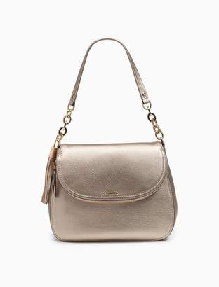 Calvin Klein pebble leather chainlink foldover hobo 2afd28742b823