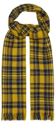 Co Begg & Kishorn Washed Cashmere Tartan Scarf - Mens - Yellow Multi