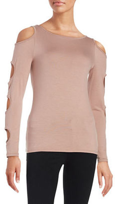 Design Lab Lord & Taylor Cutout Cold Shoulder Top $48 thestylecure.com