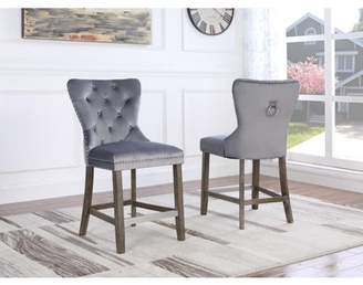 """Best Quality Furniture 24"""" Velvet Counter Height Chair **Set Of 2** in two colors gray or navy blue."""