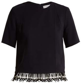 Altuzarra Beaded Hem Crepe Top - Womens - Navy