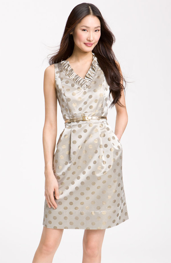 Eliza J Belted Ruffle Satin Sheath Dress