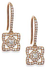 De Beers Women's Enchanted Lotus Diamond& 18K Rose Gold Drop Earrings