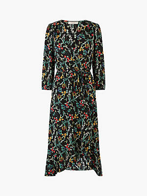 Oasis Long Floral Wrap Midi Dress, Black
