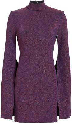 SOLACE London Alula Slit Sleeve Purple Lurex Knit Dress