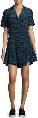 A.L.C. Kayden Printed Button-Front Silk Shirtdress, Blue Pattern
