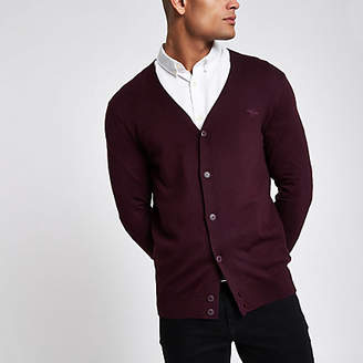 River Island Dark red V neck button-down cardigan