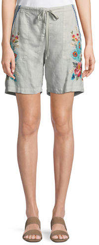 Johnny Was Vernazza Drawstring Embroidered Linen Shorts, Petite