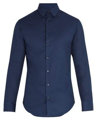 Giorgio Armani Birdseye Cotton Shirt - Mens - Navy