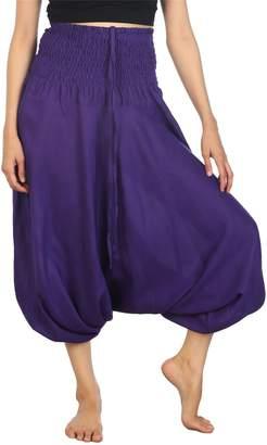 Lofbaz Women's Solid Smocked Waist 2 in 1 Harem Jumpsuit Pants Burgundy 2XL