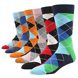 SOXART Men's Dress Socks 6 Pack Argyle Multi Color Fun Style for