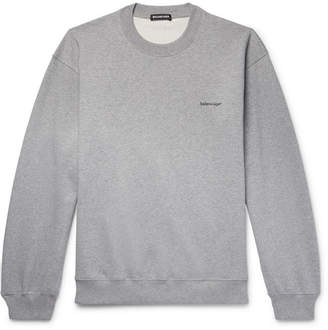 Balenciaga Logo-Print Melange Loopback Cotton-Jersey Sweatshirt - Men - Gray