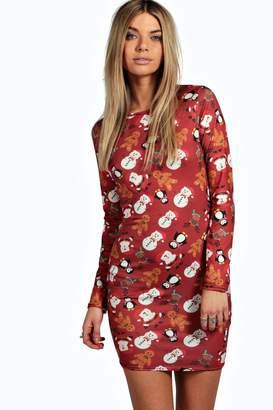 at boohoo boohoo Natalii Christmas Printed Bodycon Dress