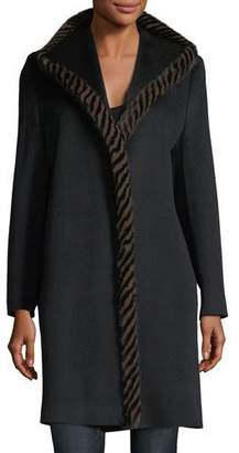 Fleurette Magnetic Wool Coat w/ Spiral Mink Fur
