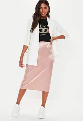 Missguided Rose Satin Slip Midi Skirt