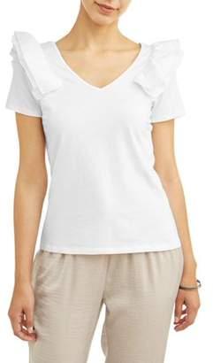 Alison Andrews Women's Short Sleeve Ruffle Shoulder T-Shirt