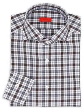 Isaia Checkered Cotton Regular-Fit Dress Shirt