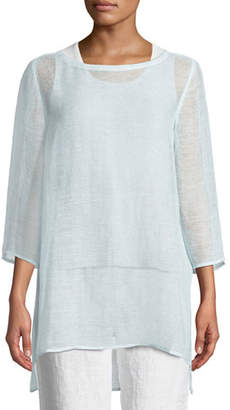 Eileen Fisher 3/4-Sleeve Organic Linen Mesh Tunic