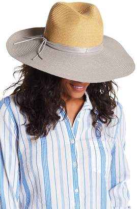 San Diego Hat Company Silver Band Two Tone Straw Floppy Hat