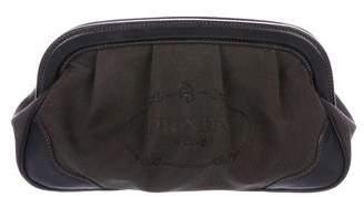 Prada Leather-Trimmed Logo Cosmetic Bag