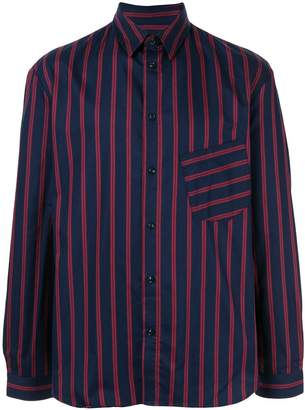 Band Of Outsiders slanted pocket striped shirt