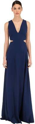 Azzaro CADY LONG DRESS W/ METAL BELT DETAIL