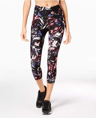 Calvin Klein Printed Mesh-Inset Compression Cropped Leggings