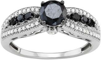 Sterling Silver 1 Carat T.W. Black & White Diamond Engagement Ring