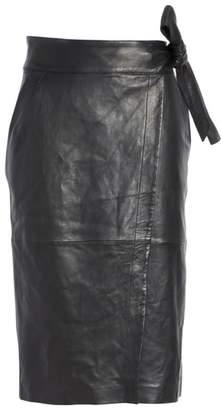 BA&SH Magic Wrap Leather Skirt
