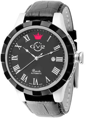 Gv2 Men's Automatic-Self-Wind Scacchi Black Leather Strap Watch