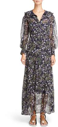 Isabel Marant Metallic Bloom Silk Maxi Dress