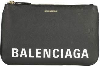 Balenciaga Logo Zipped Pouch