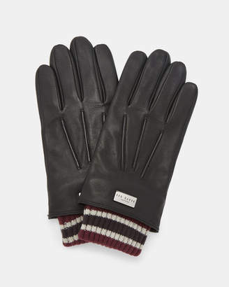Ted Baker CONVER Ribbed cuff leather gloves