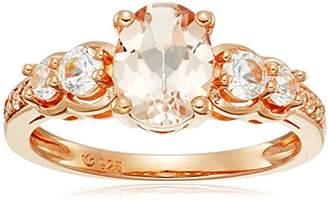 Rose Gold-plated Silver Morganite and Created White Sapphire Ring