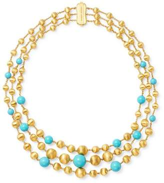 Marco Bicego 18K Yellow Gold Africa Turquoise Multi-Strand Station Necklace, 16.5""