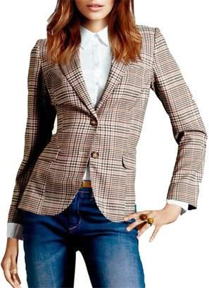 JXG-Women Casual Notched Lapel Plaid OL Two Button Blazer Suit Jacket US XL