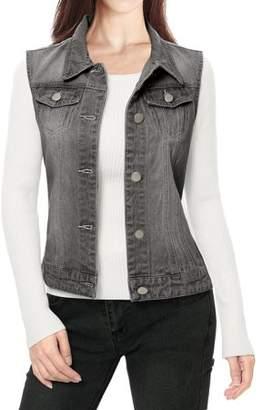 Unique Bargains Ladies Buttoned Washed Denim Vest w Flap Pockets Gray M