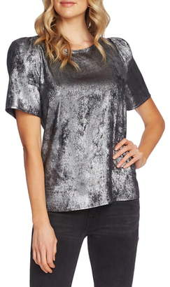 Vince Camuto Puff Sleeve Metallic Top
